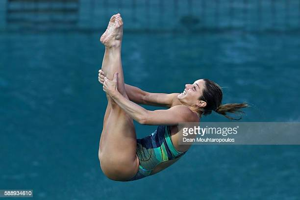 Juliana Veloso of Brazil competes in the Women's Diving 3m Springboard Preliminary Round on Day 7 of the Rio 2016 Olympic Games at Maria Lenk...