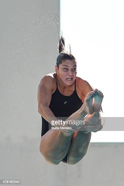 Juliana Veloso of Brazil dives during the Olympic Day celebration and presentation of the Brazilian national team's mascot Ginga by the Brazilian...
