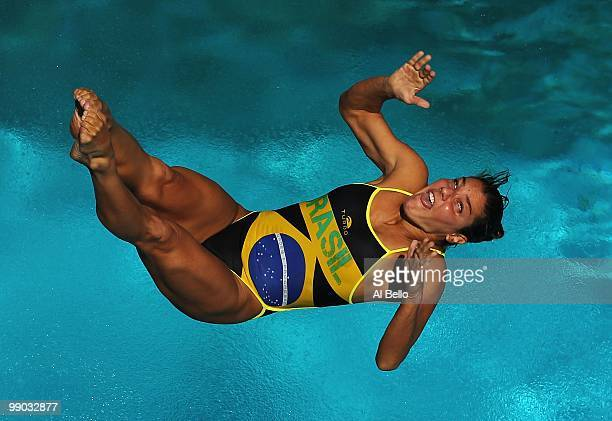 Juliana Veloso of Brazil dives during the Women's 3 Meter Springboard Final at the Fort Lauderdale Aquatic Center during Day 4 of the ATT USA Diving...