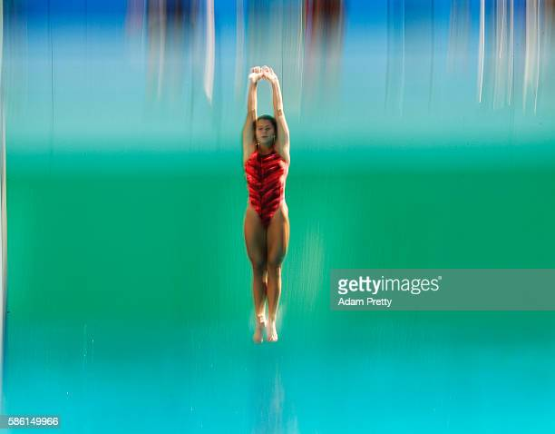 Juliana Veloso of Brazil in action during diving training at the Maria Lenk Aquatics Centre in Rio de Janerio on August 5 2016 in Rio de Janeiro...