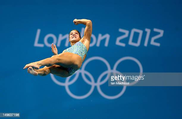 Juliana Veloso of Brazil practices at the diving pool on Day 5 of the London 2012 Olympic Games at the Aquatics Centre on August 1 2012 in London...