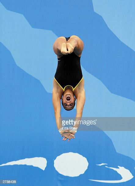 Juliana Veloso of Brazil who won the silver medal dives during the women's 10m platform diving competition at Centro Olimpico Juan Pablo Durate on...