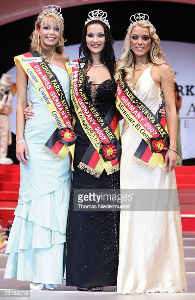 Juliane Braendle who came second Nelly Marie Bojahr winner of the Miss Germany 2007 title and Katie Steiner who took third place pose together at the...