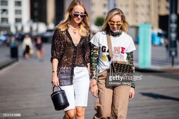 Juliane Diesner and Sonia Lyson is seen outside Munthe during the Copenhagen Fashion Week Spring/Summer 2019 on August 9 2018 in Copenhagen Denmark