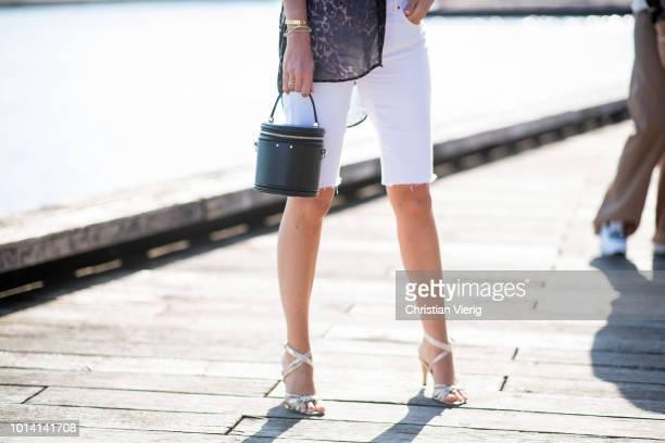 Juliane Diesner wearing animal print white skinny shorts is seen outside Munthe during the Copenhagen Fashion Week Spring/Summer 2019 on August 9...