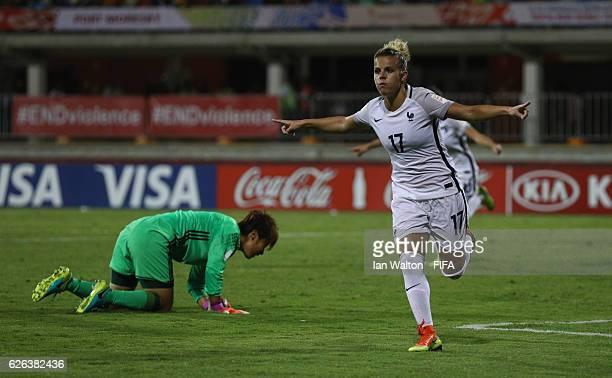 Juliane Gathrat of France celebrates scoring a goal during the FIFA U20 Women's World Cup Semi Final match between Japan and France at Sir John Guise...
