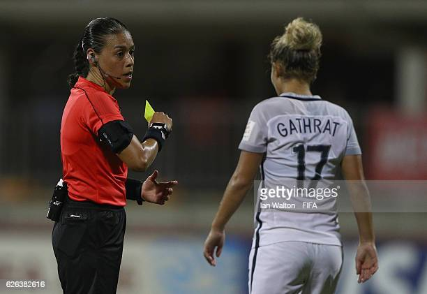 Juliane Gathrat of France is shown a yellow card during the FIFA U20 Women's World Cup Semi Final match between Japan and France at Sir John Guise...