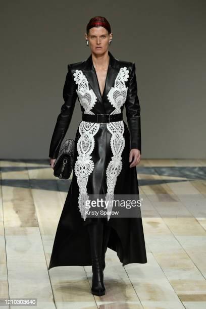 Juliane Grüner walks the runway during the Alexander McQueen show as part of Paris Fashion Week Womenswear Fall/Winter 2020/2021 on March 02, 2020 in...