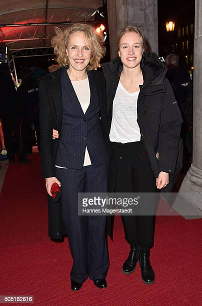 Juliane Koehler and daughter Fanny during the Bavarian Film Award 2016 show at Prinzregententheater on January 15 2016 in Munich Germany