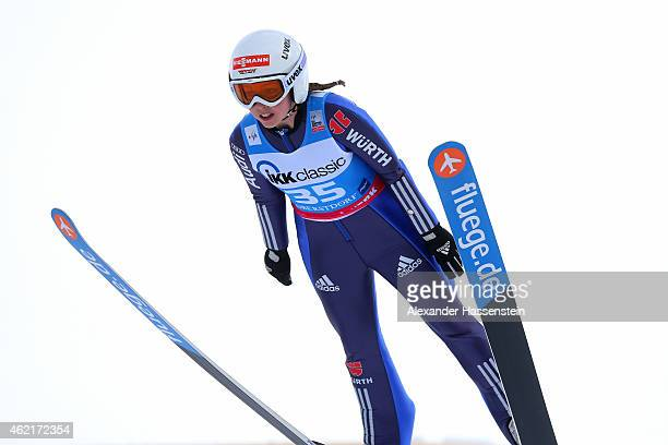 Juliane Seyfarth of Germany competes during day two of the Women Ski Jumping World Cup event at SchattenbergSchanze Erdinger Arena on January 25 2015...