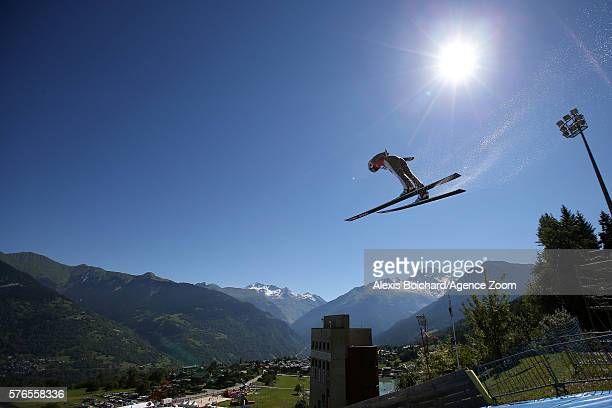 Juliane Seyfarth of Germany competes during the Finals of the FIS Grand Prix Ski Jumping 2016 on July 16 2016 in Courchevel France