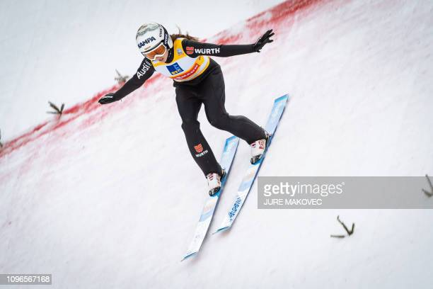 Juliane Seyfarth of Germany competes during the FIS Ladies Ski Jumping World Cup Team event in Ljubno Slovenia on February 9 2019