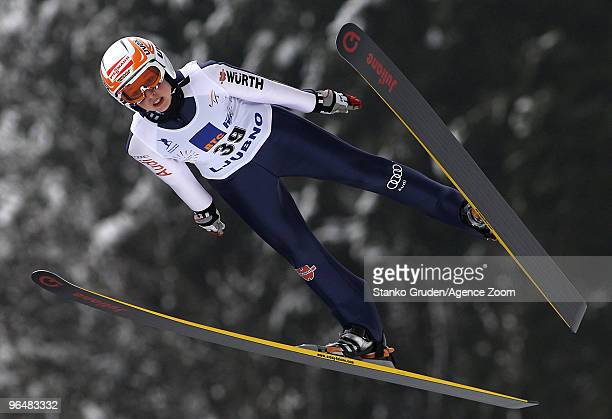 Juliane Seyfarth of Germany competes during the FIS Ski Jumping Continental Cup Women's HS95 on February 7 2010 in Ljubno Slovenia