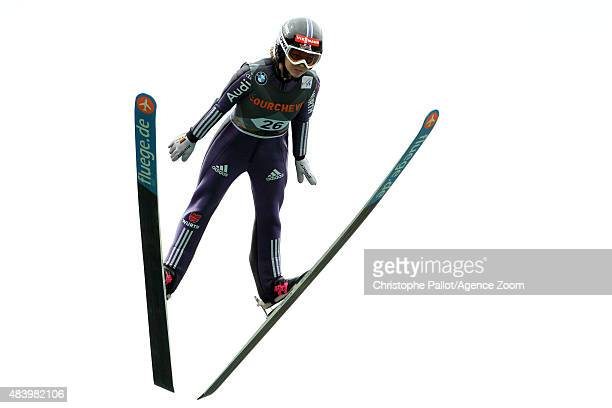 Juliane Seyfarth of Germany competes during the FIS Ski Jumping Grand Prix Men's HS132 and Women's HS96 in Courchevel France
