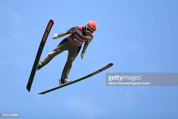 Juliane Seyfarth of Germany competes during the qualifications of the FIS Grand Prix Ski Jumping 2016 on July 15 2016 in Courchevel France
