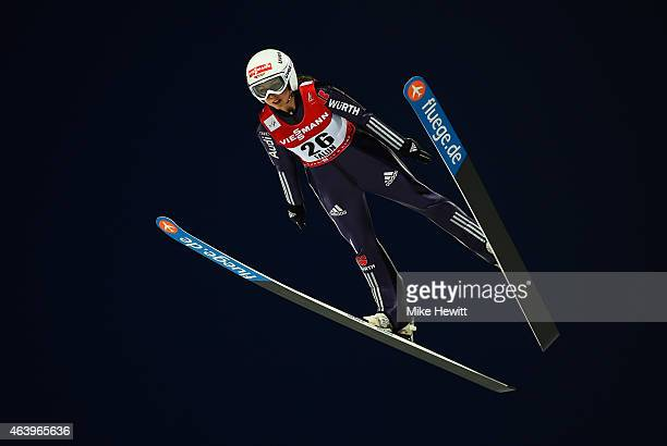 Juliane Seyfarth of Germany competes during the Women's HS100 Normal Hill Ski Jumping during the FIS Nordic World Ski Championships at the Lugnet...