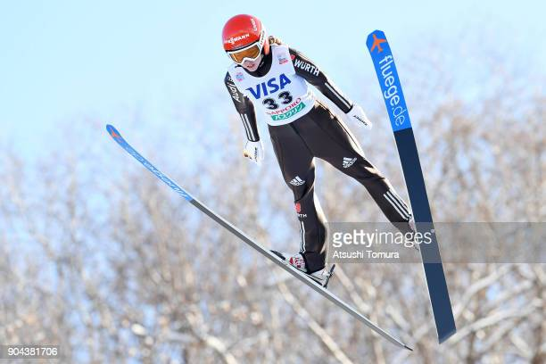 Juliane Seyfarth of Germany competes in the Ladies normal hill individual during day one of the FIS Ski Jumping Women's World cup at Miyanomori Ski...