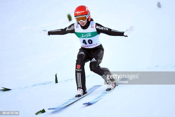Juliane Seyfarth of Germany competes in the Ladies normal hill individual during day two of the FIS Ski Jumping Women's World cup at Miyanomori Ski...