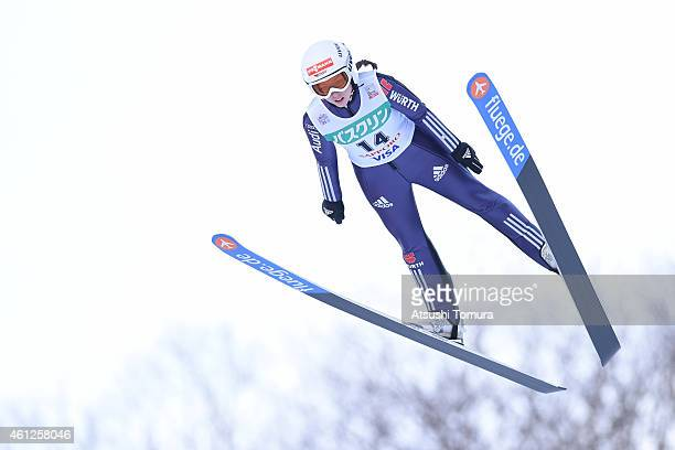 Juliane Seyfarth of Germany competes in the normal hill individual Qualification round during the FIS Women's Ski Jumping World Cup Sapporo at...