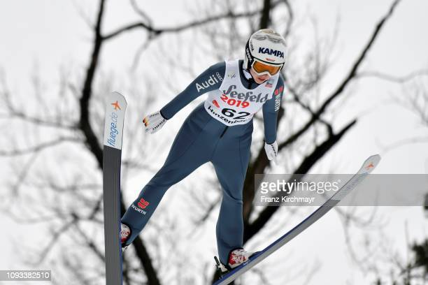 Juliane Seyfarth of Germany during the FIS Ski Jumping Women's Worldcup at Energie AG Skisprungarena on February 3 2019 in Eferding Austria