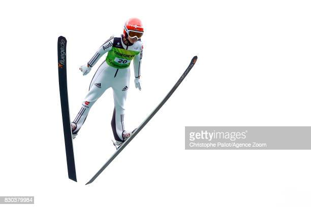 Juliane Seyfarth of Germany in action during the Women's HS 96 at the FIS Grand Prix Ski Jumping on August 11 2017 in Courchevel France