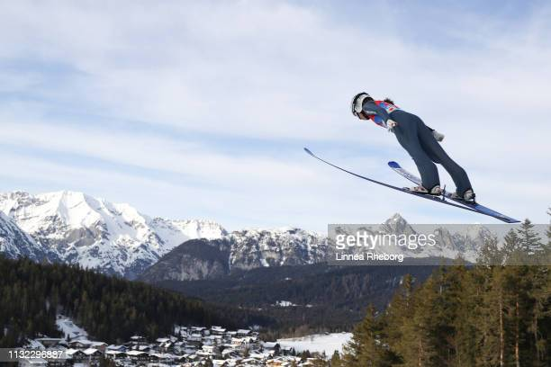 Juliane Seyfarth of Germany jumps during the first round of the HS109 women's ski jumping Competition of the FIS Nordic World Ski Championships at...