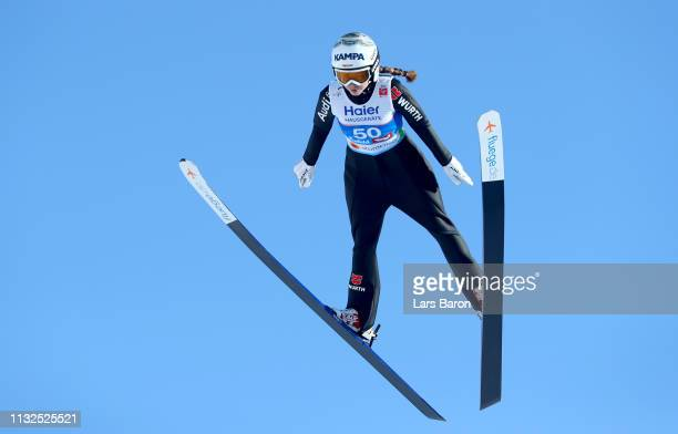 Juliane Seyfarth of Germany jumps during the qualification round of the HS109 women's ski jumping Competition of the FIS Nordic World Ski...