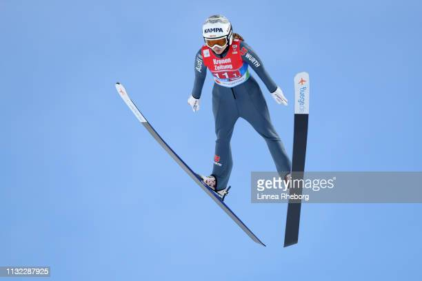 Juliane Seyfarth of Germany jumps during the trial round of the HS109 women's ski jumping Competition of the FIS Nordic World Ski Championships at...