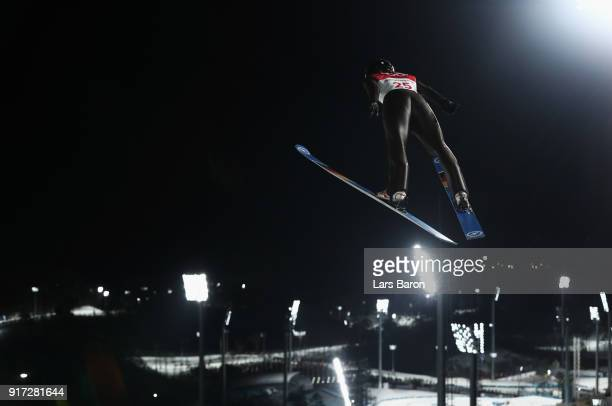 Juliane Seyfarth of Germany makes a trial jump during the Ladies' Normal Hill Individual Ski Jumping Final on day three of the PyeongChang 2018...