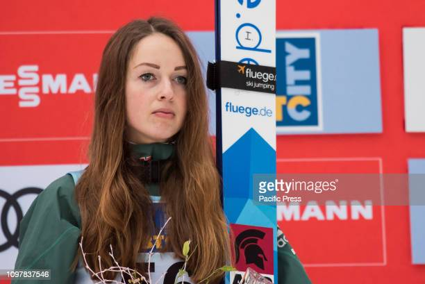 LJUBNO SLOVENIA LJUBNO SAVINJSKA SLOVENIA Juliane Seyfarth of Germany on podium celebrates her third place at last competition day of the FIS Ski...