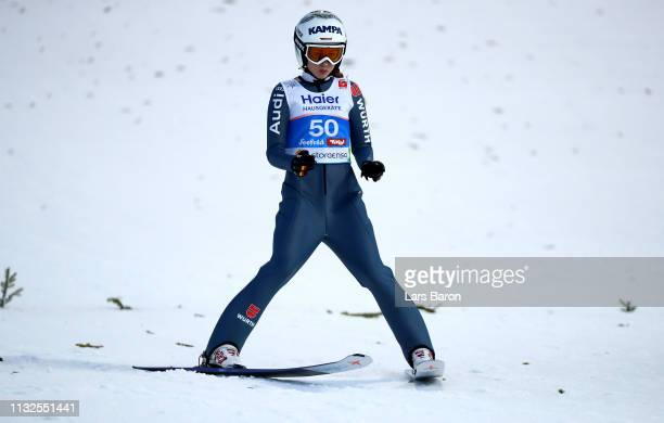Juliane Seyfarth of Germany reacts after the final round of the HS109 women's ski jumping Competition of the FIS Nordic World Ski Championships at...