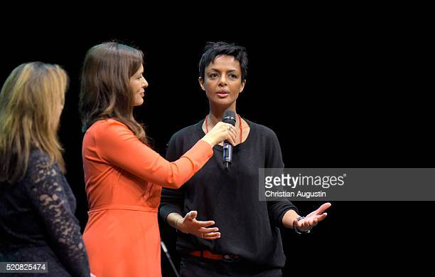 "Julia-Niharika Sen and Dennenesch Zoude attend Fairchance Foundation launch event of the project ""Mitsprache"" at Kampnagel on April 12, 2016 in..."