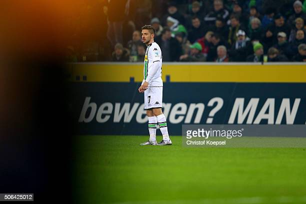 JulianKorb of Moenchengladbach looks dejected after the second goal of Dortmund during the Bundesliga match between Borussia Moenchengladbach and...