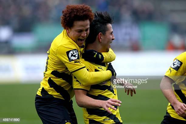 JulianMaurice Derstroff of Dortmund celebrates the first goal with Mustafa Amini of Dortmund during the 3 Liga match between Borussia Dortmund II and...