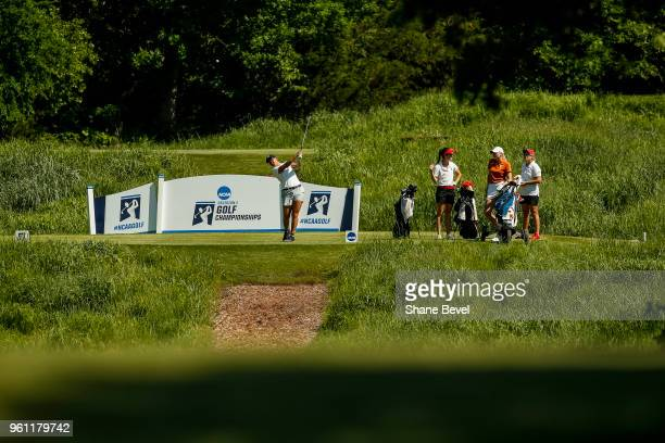 Julianna Alvarez of Washington drives from the 5th tee box during the Division I Women's Golf Individual Championship held at the Karsten Creek Golf...