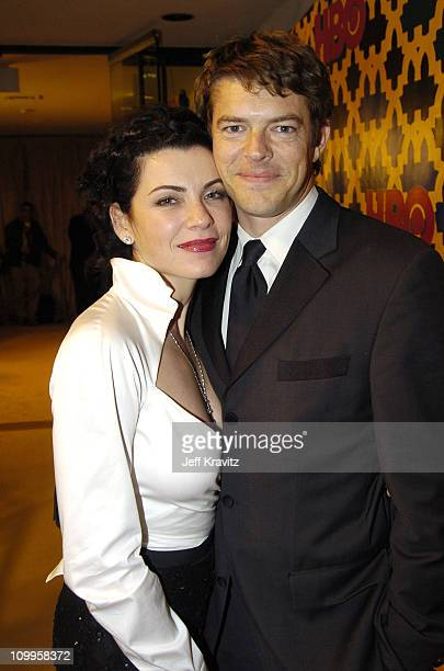 Julianna Margulies and guest during HBO Golden Globe Awards Party Inside at Beverly Hills Hilton in Beverly Hills California United States