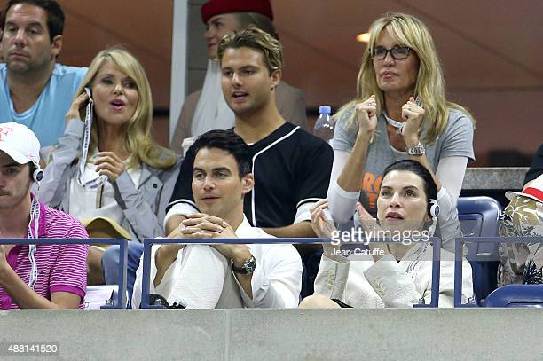 Julianna Margulies and her husband Keith Lieberthal above them left Christie Brinkley and her son Jack Paris Brinkley Cook attend the Men's Final on...