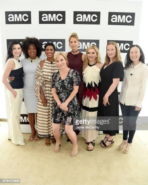 Julianna Margulies Lorraine Touissant Tamron Hall Marti Noxon Jenna Elfman Rhea Seehorn Melissa Bernstein and Angela Kang attend the AMC Summit at...