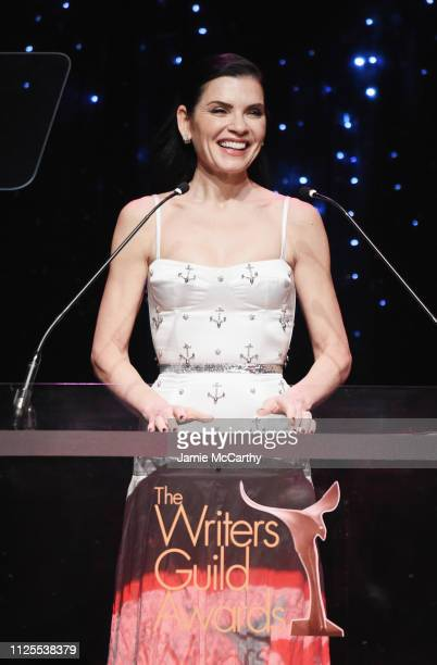 Julianna Margulies speaks onstage during the 71st Annual Writers Guild Awards New York ceremony at Edison Ballroom on February 17 2019 in New York...