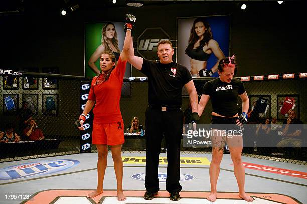 Julianna Pena celebrates after defeating Gina Mazany in their elimination fight during filming of season eighteen of The Ultimate Fighter on May 29...