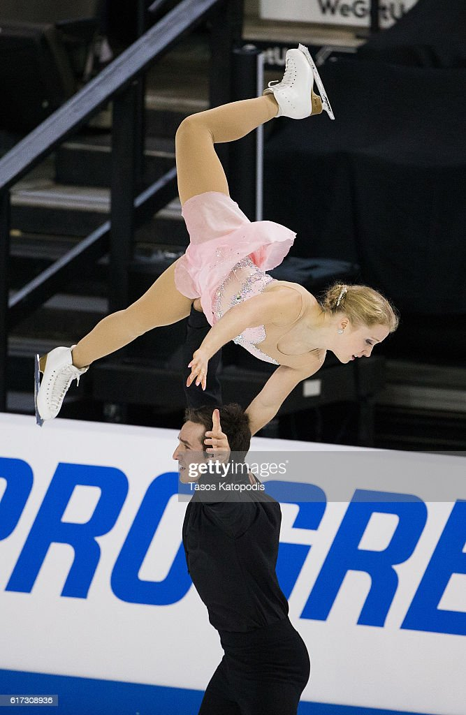 Julianna Seguin and Charles Bilodeau of Canada compete in the pairs free skating at 2016 Progressive Skate America at Sears Centre Arena on October 22, 2016 in Chicago, Illinois. (Photo by Tasos Katopodis/Getty Images