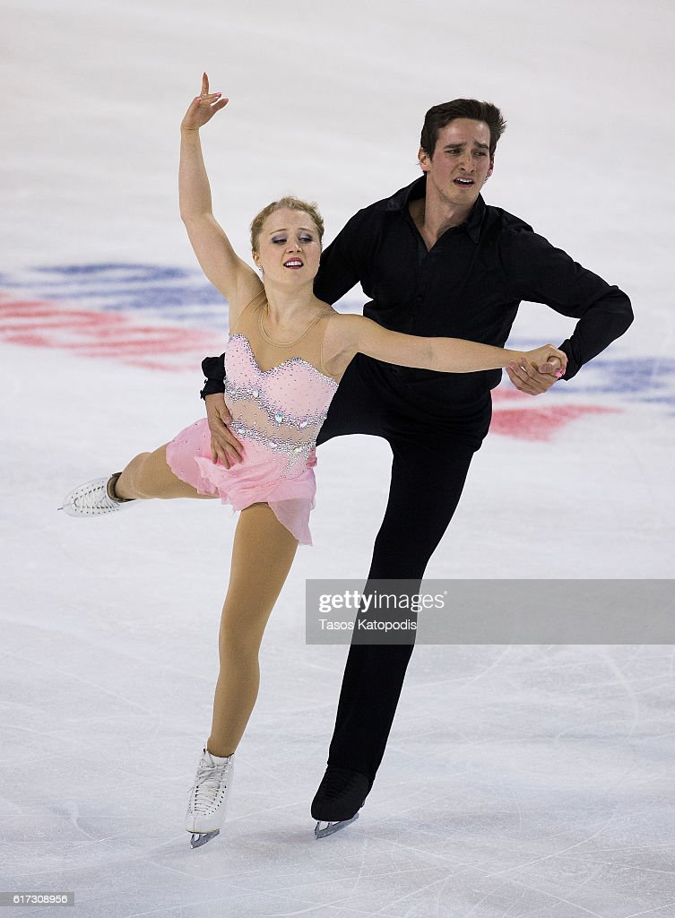 Julianna Seguin and Charles Bilodeau of Canada compete in the pairs free skating at 2016 Progressive Skate America at Sears Centre Arena on October 22, 2016 in Chicago, Illinois.