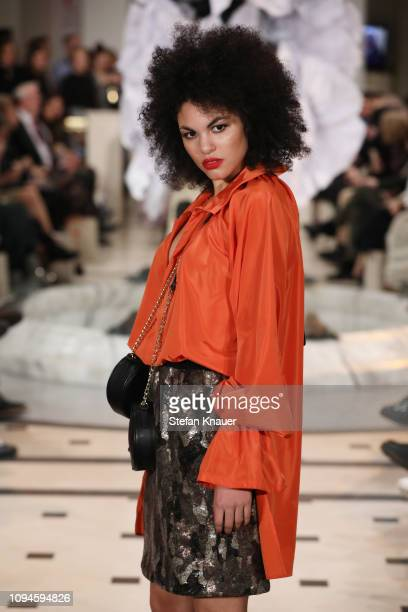 Julianna Townsend walks the runway at the Anja Gockel show during the Berlin Fashion Week Autumn/Winter 2019 at Hotel Adlon on January 15 2019 in...