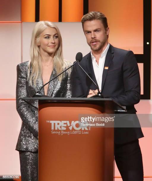 Julianne Hough and Derek Hough speak onstage during The Trevor Project's 2017 TrevorLIVE LA Gala at The Beverly Hilton Hotel on December 3 2017 in...