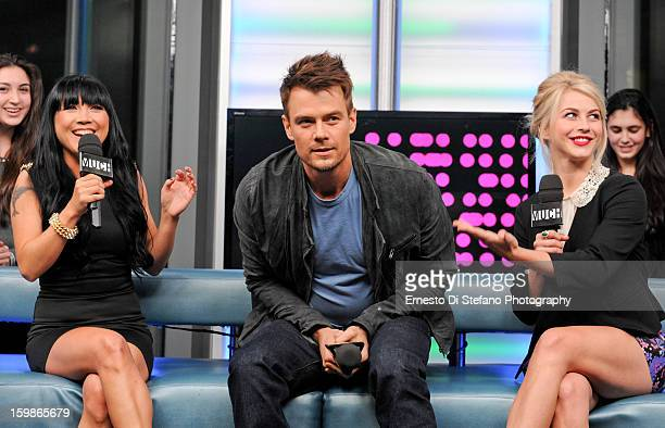 Julianne Hough and Josh Duhamel with Host Lauren Toyota of NewMusicLive at MuchMusic Headquarters on January 21 2013 in Toronto Canada