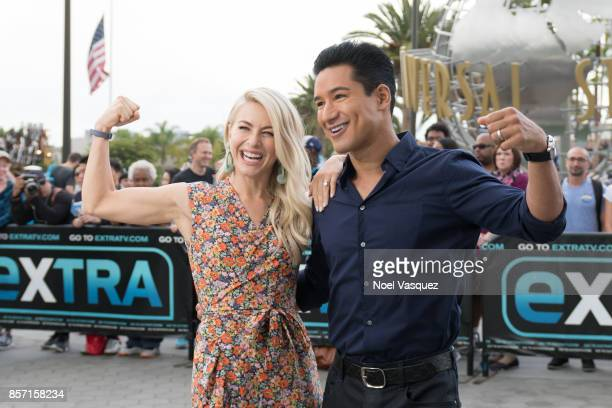 Julianne Hough and Mario Lopez visit 'Extra' at Universal Studios Hollywood on October 3 2017 in Universal City California