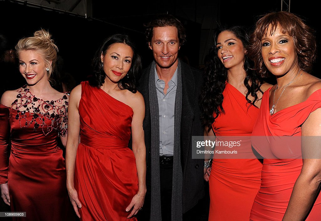 Julianne Hough, Ann Curry, Matthew McConaughey, Camila Alves and Gayle King attend the Heart Truth's Red Dress Collection 2011 during Mecerdes-Benz fashion week at The Theatre at Lincoln Center on February 9, 2011 in New York City.