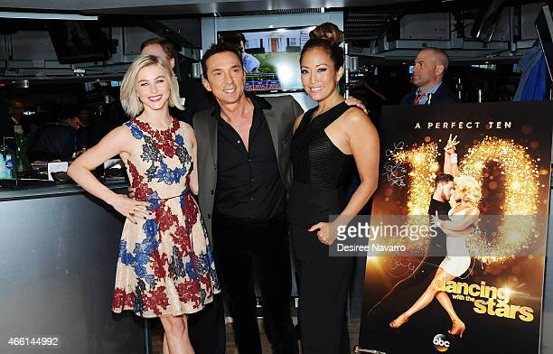 Julianne Hough, Bruno Tonioli and Carrie Ann Inaba of 'Dancing With The Stars' ring the NYSE Closing Bell at New York Stock Exchange on March 13,...