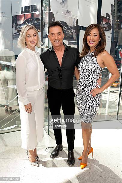 """Julianne Hough, Bruno Tonioli, and Carrie Ann Inaba visit """"Extra"""" at their New York studios at H&M in Times Square on March 13, 2015 in New York City."""