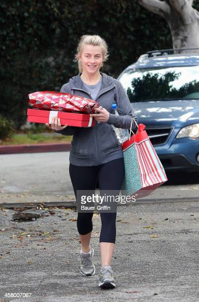 Julianne Hough is seen carrying gifts on December 19 2013 in Los Angeles California